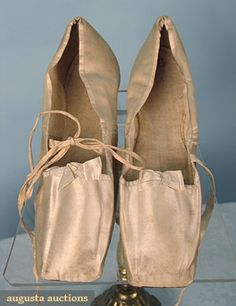 "Ivory satin straight flats w/ silk ribbon ties & bows, white linen lining, soles inked ""R F Coffing February 27, 1833"