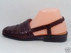 BASS-Womens-8-5-M-Sz-Woven-Leather-Slingbacks-Brown-Low-Woven-Sandals-Shoes-Flat
