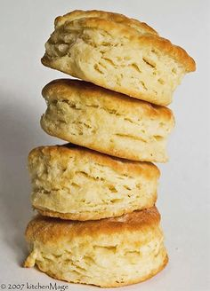 Simple and flaky biscuits,  makes more tan six.  I used a little more flour than called for.  Roll thick. (Tr)