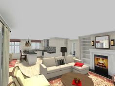 3D floor plan for a great room with kitchen, dining room and living room spaces. http://planner.roomsketcher.com/?ctxt=rs_com