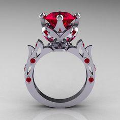 Modern Antique 10K White Gold 3.0 Carat Ruby Solitaire Wedding Ring R214-10KWGR