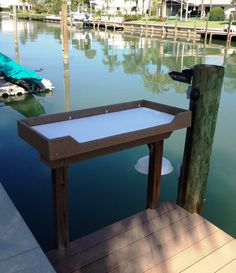 Boat Plans - Fish Cleaning Station for Boat Dock - Master Boat Builder with 31 Years of Experience Finally Releases Archive Of 518 Illustrated, Step-By-Step Boat Plans Fish Cleaning Table, Fish Cleaning Station, Deck Boat, Boat Dock, Tiny Beach House, Dock House, Lake Dock, Floating Dock, Lakefront Property
