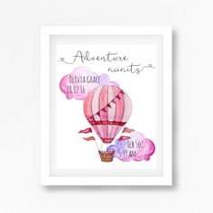 Personalised Hot Air Balloon Nursery Wall Art Prints
