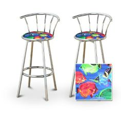 2 Tropical Fish Custom Chrome Barstools with Backrest Set [Kitchen] by The Furniture Cove. $145.87