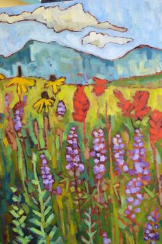 Summer Medley  Oil painting on canvas/36x24x7/8  The sides are painted and it is already wired for hanging.  This is an original painting