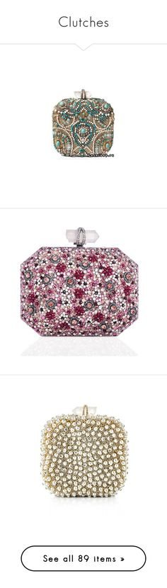"""""""Clutches"""" by adorablequeen on Polyvore featuring bags, handbags, clutches, marchesa, purses, bolsas, pink multi, pink purse, hand bags and box clutch"""