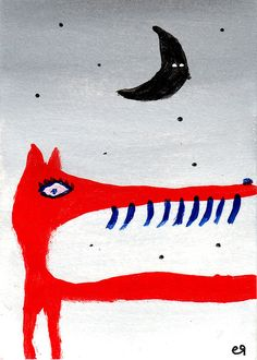 she-demon with her fox-skin on e9Art ACEO Moon Mythology Art Painting Folk Outsider Brut Cartoon Expressionism
