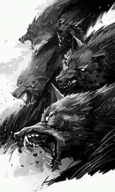 savage wolf pack art illustration, black and white, solta os cachorros ! savage wolf pack art illustration, black and white, solta os cachorros ! Fantasy Creatures, Mythical Creatures, Amazing Art, Awesome, Concept Art, Cool Art, Art Drawings, Digital Art, Illustration Art