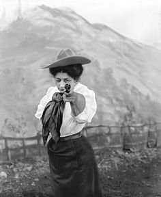 """May Lillie, a famed equestrian sharpshooter, who said: """"Let any normally healthy woman who is ordinarily strong screw up her courage and tackle a bucking bronco, and she will find the most fascinating pastime in the field of feminine athletic endeavor. There is nothing to compare, to increase the joy of living, and once accomplished, she'll have more real fun than any pink tea or theater party or ballroom ever yielded."""""""