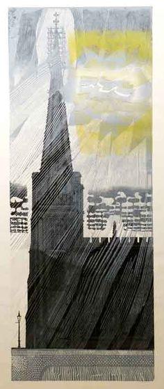 Edward Bawden's linocut 'Church and Thunderstorm'
