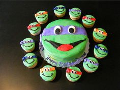TMNT cake & cupcakes (just the picture, looks easy enough to make!)