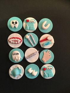 Dentist/Dental Fondant Cupcake, Cake, Cookie Toppers. Set includes 12 (one dozen)  Simply bake or buy your cupcakes, cakes or cookies, frost and place the Topper on top! These Fondant themed cupcake toppers are 100% non-toxic Keep your fondant treats in a cool dry place and they will last for months. They can be kept for yrs as souvenirs. They are Gluten Free, Vegan and nut free. Do NOT place in the refrigerator or freezer or in direct light.. They will soften slightly when placed on the…