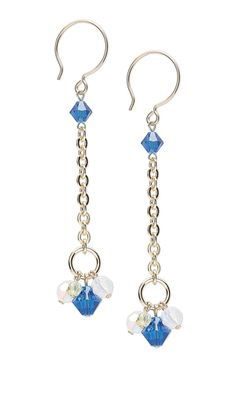 Jewelry Design - Earrings with Capri Blue Swarovski Crystal Beads and Gold-Filled Chain - Fire Mountain Gems and Beads Jewelry Design Earrings, Bead Earrings, Beaded Jewelry, Unique Jewelry, Handmade Jewelry, Moon Earrings, Silver Jewelry, Swarovski Crystal Beads, How To Make Earrings