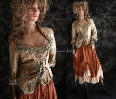 Bohemian Artistic Hand Dyed Linen Jacket with by BohemianAngels