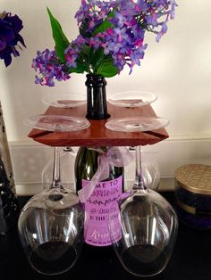 Wine and Glass Holder by TheWoodenDuck on Etsy - perfect!