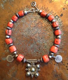 by Victoria Rivers | Necklace; Yemeni coral, silver Berber boghdad amulet and silver Yemeni beads | $725.