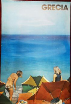 Original-Poster-Greece-Grecia-Rhodes-Island-Isla-Rodas-Sea-Women-Beach-1976