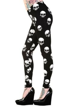 Banned White Skulls - Legginsit