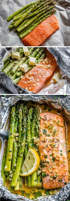 Salmon and Asparagus Foil Packs with Garlic Lemon Butter Sauce - - Whip up something quick and delicious tonight! - by dinner recipes baked Salmon and Asparagus Foil Packs with Garlic Lemon Butter Sauce Delicious Salmon Recipes, Fish Recipes, Seafood Recipes, Dinner Recipes, Cooking Recipes, Healthy Recipes, Chicken Recipes, Recipies, Pasta Recipes