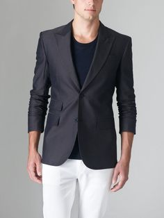 New BLK DNM Mens Navy  Cotton Two Button Blazer Sports Coat Jacket Size 46S #BLKDNM #TwoButton