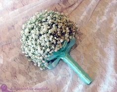 Delicate baby's breath wedding bouquet.