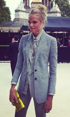 Well tailored gray with a burst of citrus - chic