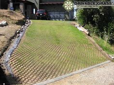 Bring a touch of nature to your driveway with this drivable grass concrete paving system. Permeable Driveway, Asphalt Driveway, Driveway Landscaping, Outdoor Landscaping, Outdoor Gardens, Driveways, Burm Landscaping, Driveway Ideas, Walkways