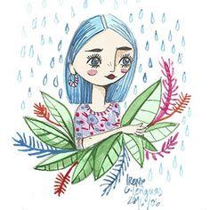 Ilustración de chica de pelo azul con lluvia, soporte papel, técnica acuarela…