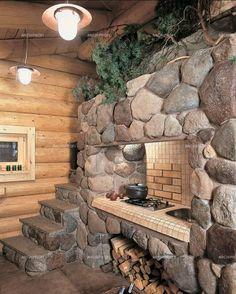 Дом из кедра-печь