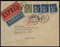 France Express Airmail 1935 Incoming Austria Rohrpost Pneumatic Cover