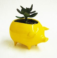 Ceramic Pig Planter Handmade Vintage Design Mexican Piggy in Bright Yellow. $32.00, via Etsy.
