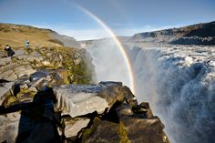 Waterfall Dettifoss with two rainbows, jeep tour off season 190