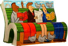London book bench Jeremy Banx's THE WORLD'S BIGGEST FLIPBOOK, a bench he created in celebration of reading for pleasure.
