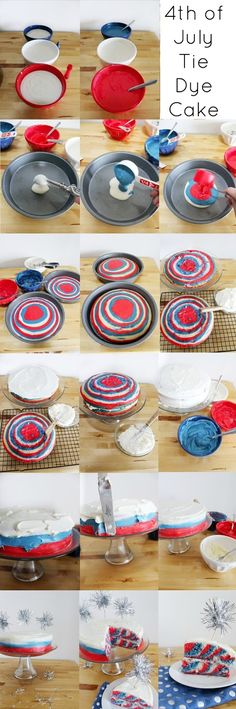 How To: 4th of July Tie Dye Cake- super easy tutorial that works!