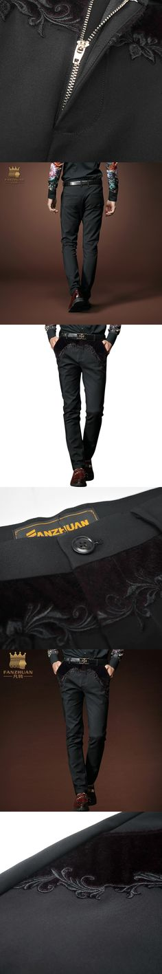 FANZHUAN Featured Brands Fashion Men Pants Straight Spring/Fall/Winter Long Pants Male Business Casual Trousers Patchwork Black