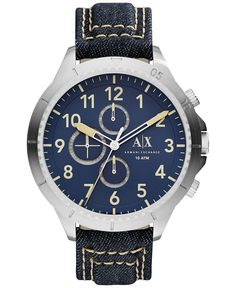 A|X Armani Exchange Men's Chronograph Blue Denim Strap Watch 50mm AX1756