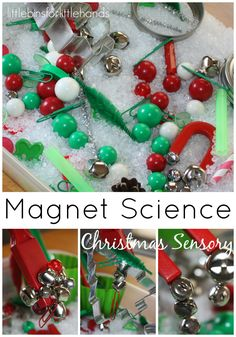 Easy set up but loads of fun for young kids. Create a simple invitation to explore magnet science with a Christmas theme. Keep kids busy learning with play.