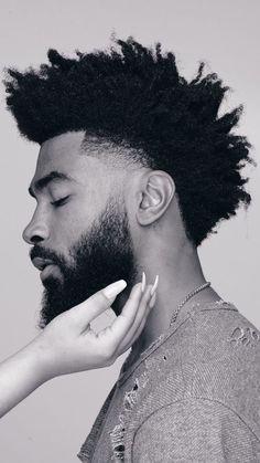 Natural Hair Men, Curly Hair Men, Curly Hair Styles, Afro Hair Men, Black Men Haircuts, Black Men Hairstyles, Black Hair Cuts, Taper Fade Haircut, Beard Haircut