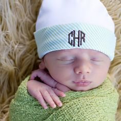 Organic Monogrammed baby boy hat - green and white seersucker