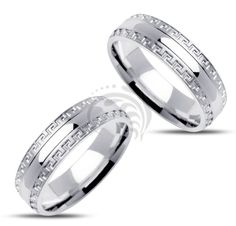 14k white Gold His and Her Matching Wedding Rings 6 mm