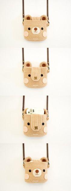 Cas de crochet pour Fuji Instax appareil photo ours mignon