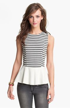 Lily White Faux Leather Peplum Tank (Juniors) | Nordstrom, $38.00