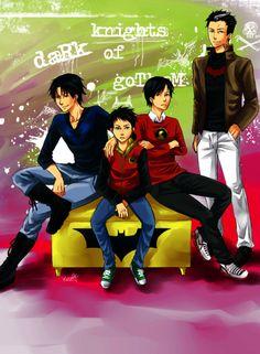 Dick, Tim, Damian, and Jason