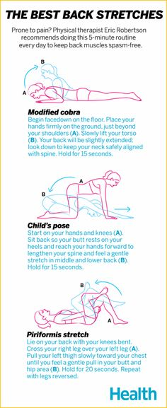 Do you suffer from back pain? Up to 80% of us will have lower back problems at some point. Try these back stretches from physical therapist Eric Robertson to help keep your muscles spasm-free.   Health.com