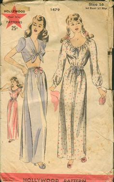 Sewing pattern Hollywood 1479; 1940s; Nightgowns. Ribbon drawn through casings at deep round neck-line and at waist-line. Raglan sleeves gathered to wristband and very short sleeves. Brief bodice top is bias in front, tied at collarless V-neck-line. Short bias sleeves. Separate skit gathered on drawstring casings.