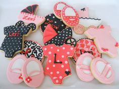 Girls baby shower cookies... Would be soo cute in my shower colors!!