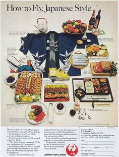 How to Fly, Japanese Style. Japan Air Lines Jal Retro Advertising, Vintage Advertisements, Vintage Ads, Vintage Airline, Retro Recipes, Vintage Recipes, Air Photo, Japan Travel, Air Travel