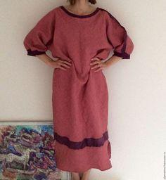 Купить Льняное длинное платье клубника со сливками по косой - коралловый, однотонный