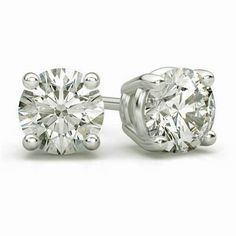 34902a378 Holiday Sale 4CT Diamond 14K White Gold Silver Screw-Back Basket Stud  Earrings #Swara