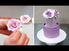 How To Form Gumpaste/Fondant ROSES without using any tools by Cakes StepbyStep Fondant Rose, Fondant Ruffles, Ruffle Cake, Frosting Flowers, Fondant Flowers, Sugar Flowers, Rose Flowers, Wilton Cake Decorating, Cake Decorating Tutorials